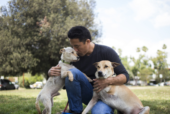 Rescuer Marc Ching with Lucky and Jack, who were saved from the dog meat trade in South Korea and Thailand. From LAIKA Issue Six. Photographed by Jenna Schoenefeld.