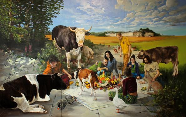 Painting by vegan artist Hartmut Kiewert.