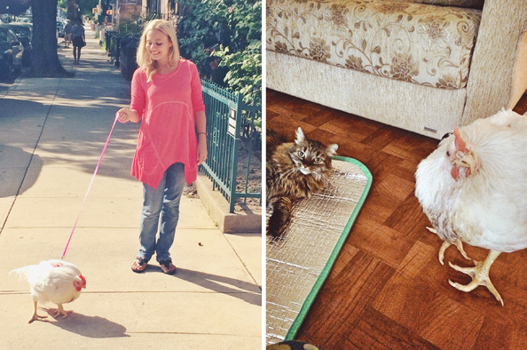 Penelope out for a stroll in Brooklyn, left, and relaxing at home. (Vanessa Dawson)